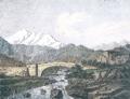 Illustration : Vue du pont d'Ucciani et du Monte d'Oro, Godefroy Engelmann, d'après un dessin de Joly Delavaubignon, Paris, 1821-1822, lithographie, Beaux Arts magazine, Musée de la corse, Corte, juin 1997.