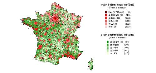 Carte 1 : Mobilités des pôles urbains vers l'espace à dominante rurale entre 1990 et 1999. Source : INSEE (fichier mobilité résidentielle 1990 ― 1999, Centre Quetelet).