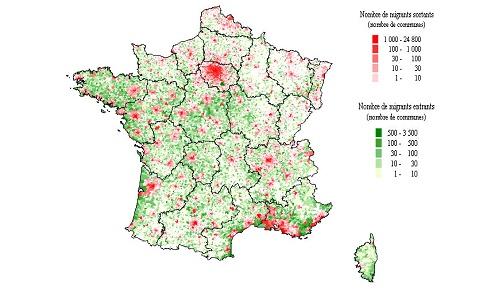 Carte 2 : Flux de migrations des zones urbaines vers les zones rurales entre 1990 et 1999 des retraités. Source : Ign 99, Insee (fichier mobilité résidentielle 1990 ― 1999 ― Centre Quetelet).