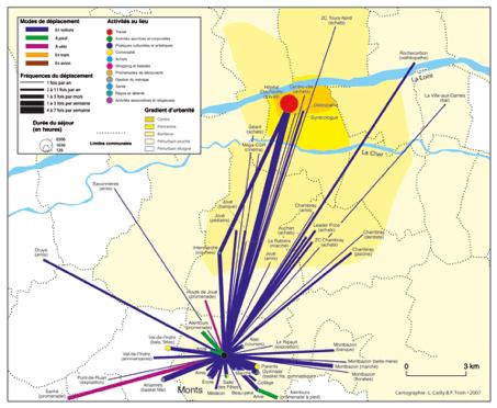 Carte 2 : Un espace de vie polycentrique et sectorisé. L'exemple de Valérie (aide-soignante, 37 ans). Source : enquête L. Cailly.