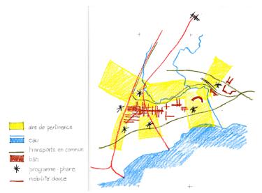 Illustration 3 : Exercice 3, croquis des cinq hypothèses d'aménagement.