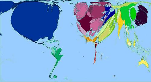 Carte 1 : Exemple d'anamorphose in Worldmapper. The World as You've Never Seen It Before (11.4.2009). La taille des pays est fonction de l'importance des dépenses militaires pour l'année 2002.