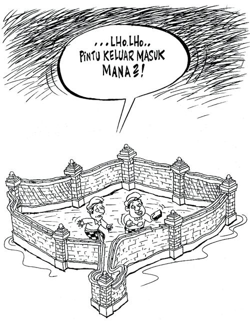 « Hé, hé, où est la porte permettant d'entrer et sortir ? » Caricature parue dans le mensuel balinais Sarad, no43, novembre 2003, p. 7.