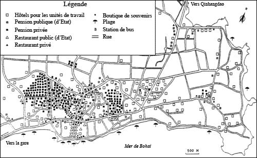 La station de Beidaihe au début des années 1990. Source (traduite) : Xu , 1999, p. 103.