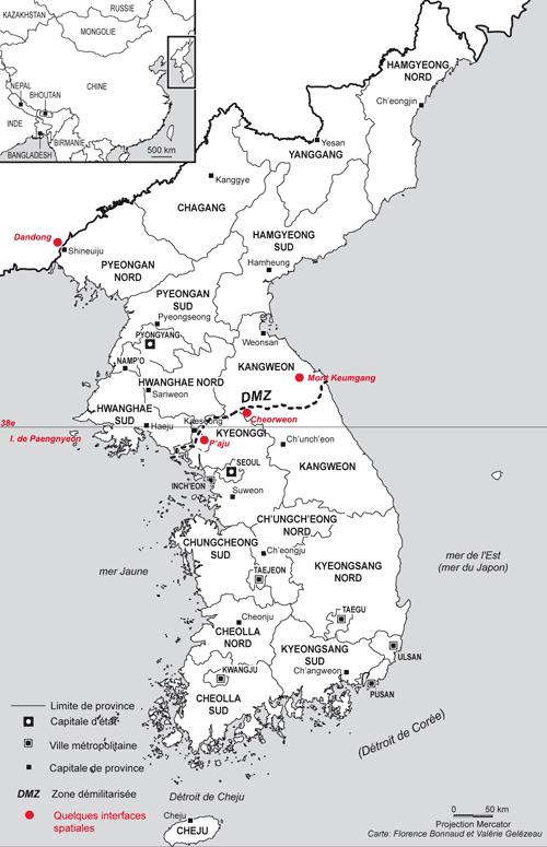 Carte de localisation avec quelques interfaces spatiales.
