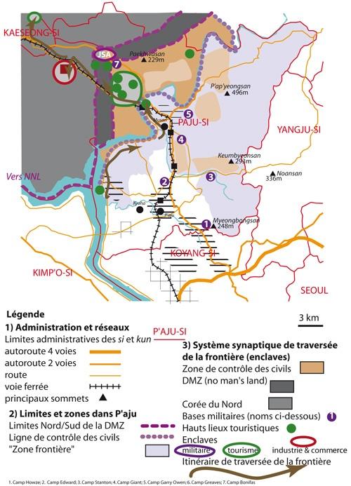 Limites et enclaves de l'interface frontalière Nord/Sud à Paj'u, ville de la région capitale sud-coréenne.