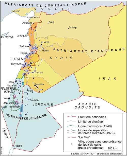 Les diocèses et les lieux de culte grecs-orthodoxes au Proche-Orient (source : Arpoa 2011 et enquêtes personnelles).