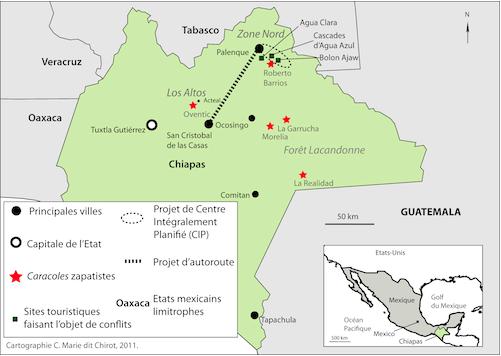 Principaux projets touristiques et conflits locaux dans l'Etat du Chiapas. Cartographie : C. Marie dit Chirot, 2011.