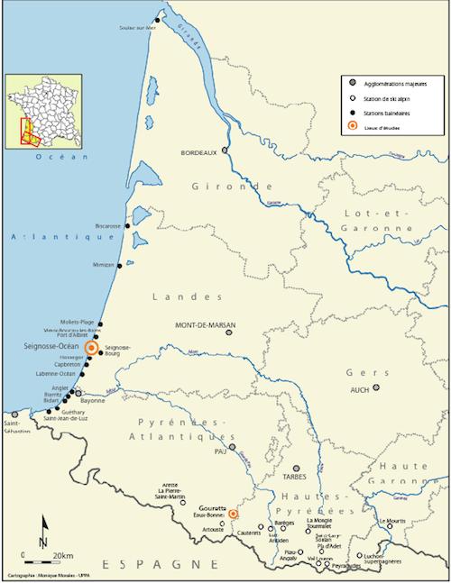 Les principales stations littorales et de montagne du Sud-ouest français (Cartographie : Monique Morales, Uppa).