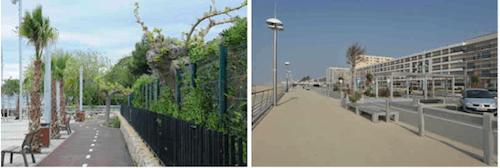 Exemples de photographies incorporées à la série des photographies de stations littorales : A5 : Cambrils ; A27 : Saint Jean de Monts (Clichés S. Clarimont et V. Vlès).