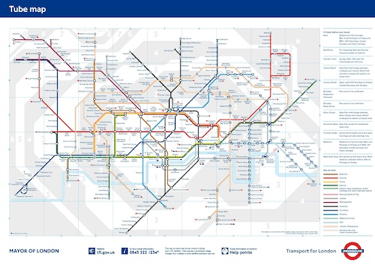 Figure 9 : Map of London Tube. Source: Transport for London, 2012.