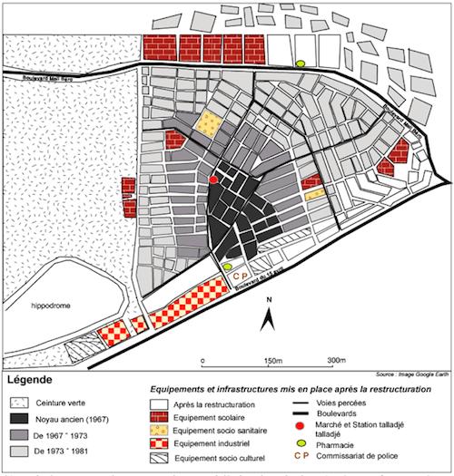 Évolution spatiale du quartier Talladjé (source : Hadiara Yayé Saidou, 2007)