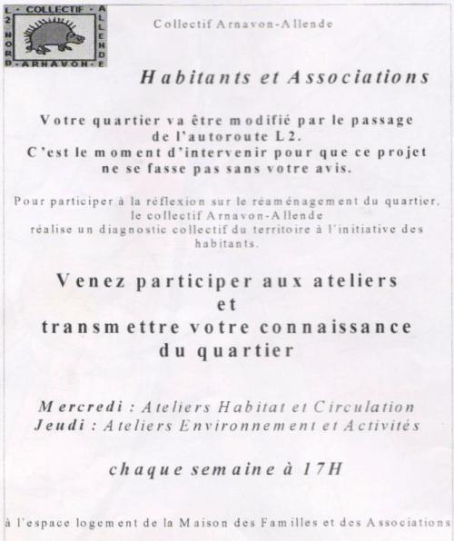 Les ateliers de « diagnostic participatif » (1) — Tract d'invitation adressé aux habitants du quartier.