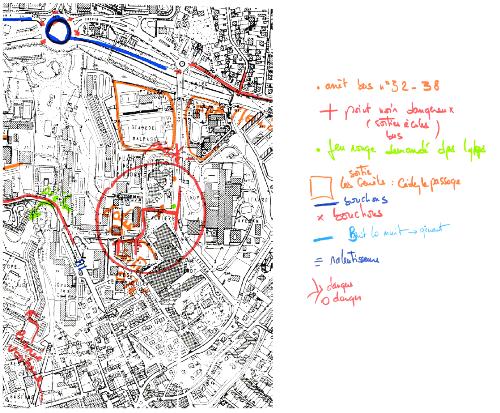 Les ateliers de « diagnostic participatif » (2) — Extrait d'une carte coproduite par l'association Arènes et les habitants du quartier sur les enjeux de la circulation dans le quartier de Malpassé à Marseille.