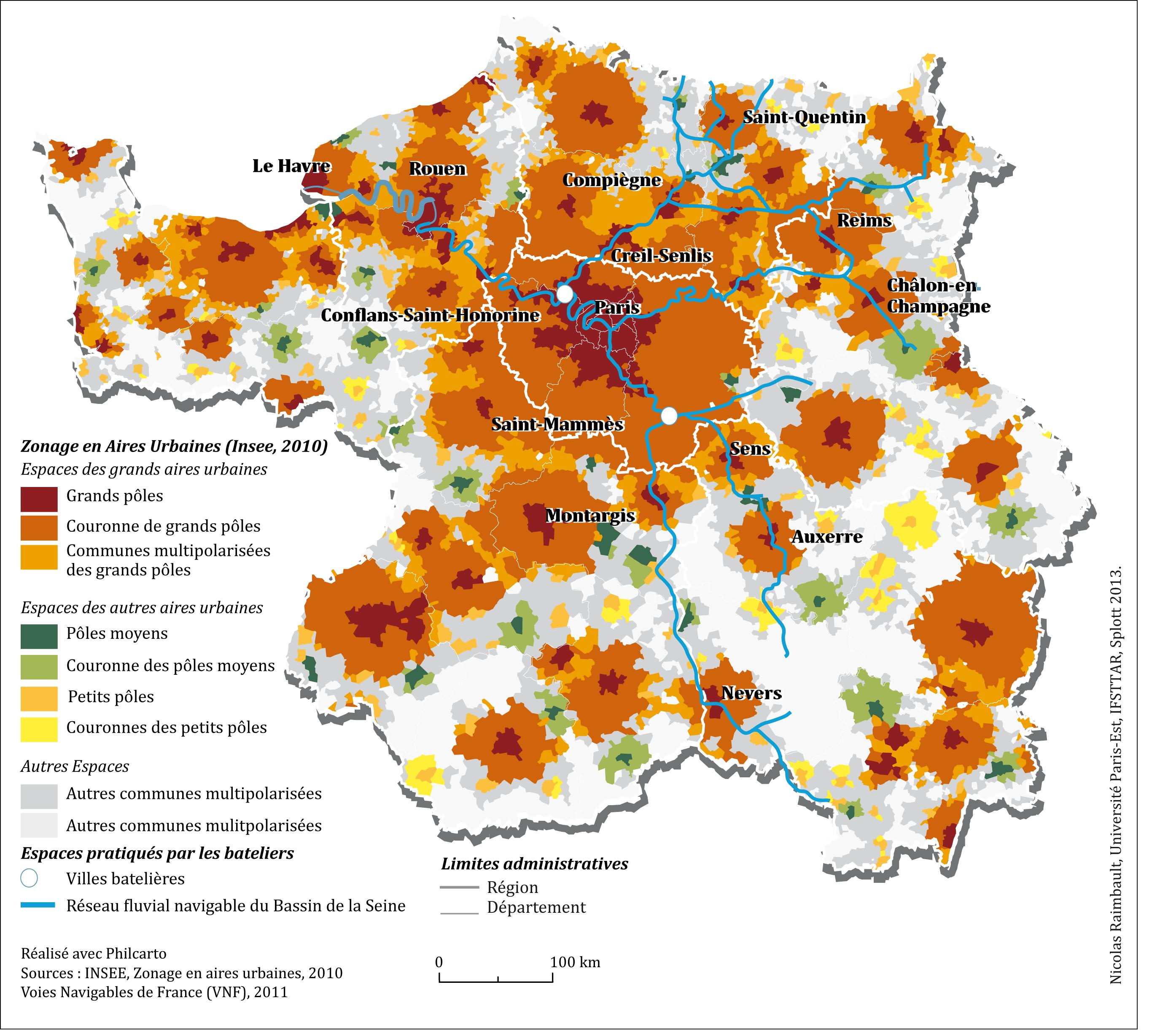 Figure 1 : Le bassin de la Seine et le zonage en aires urbaines