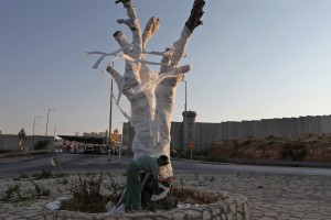 Photo 4 : « The Dead Olive Tree 2011 », Ariane Littman au checkpoint d'Hizma © Alex Levac.
