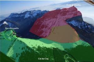 Carte 1 : L'imbrication des espaces protégés au col du Coq (Parc naturel régional de Chartreuse). Source : Yohann Rech.