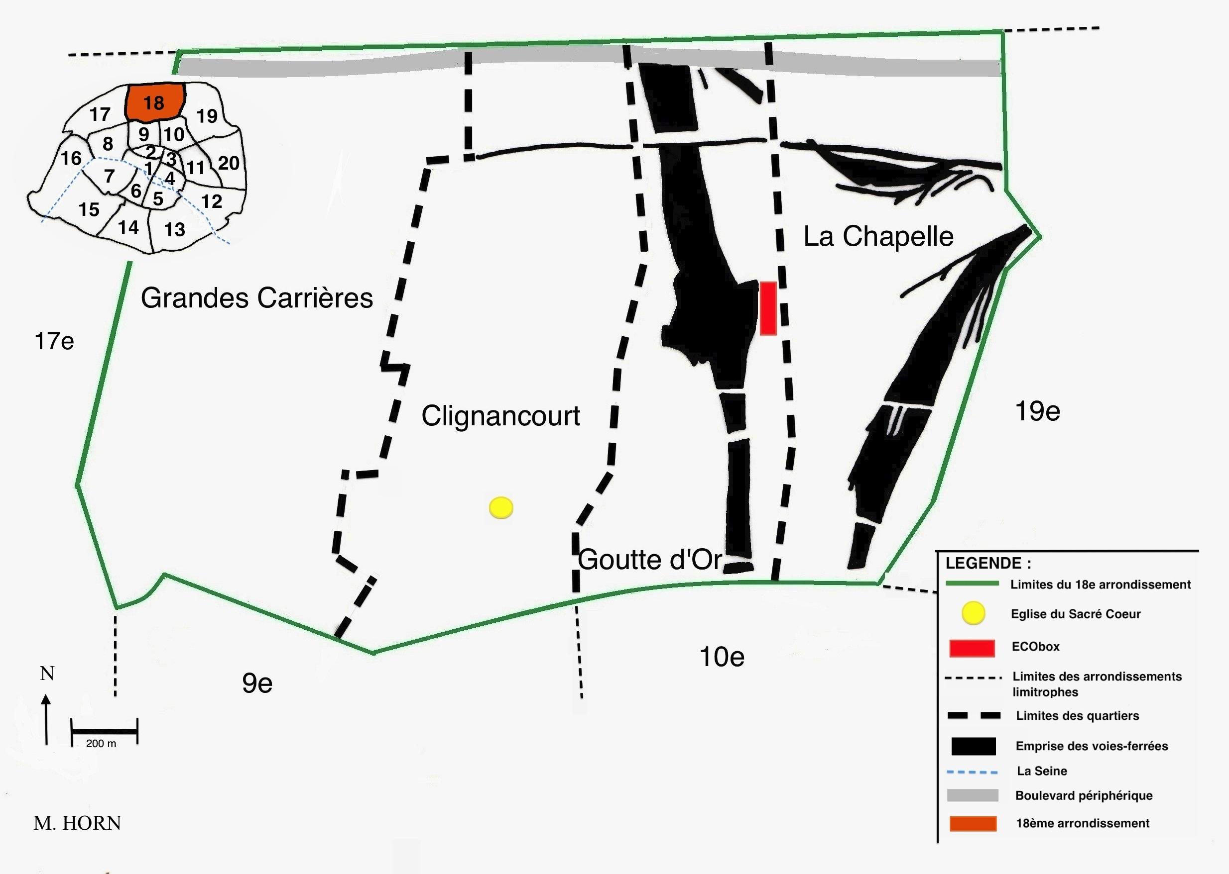 Figure 2 : Le 18e arrondissement : Situation, découpage administratif et emprise des voies ferrées. Source : Marie Horn.