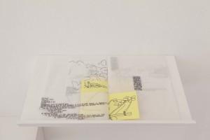 Illustration 15 : Agathe Chevrel, « À la limite », crayon noir sur papier de soie et papier jaune, 30x26 cm.