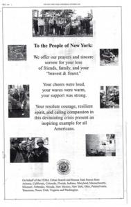 Illustration 8 : Message de soutien adressé au « Peuple de New York », New York Times, 3 octobre 2001. Source : Béatrice Fraenkel.