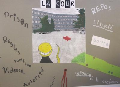 Figure 2 : « La cour », un espace ambivalent. Source : photographie transformée par Ettore (Genève, 2014).