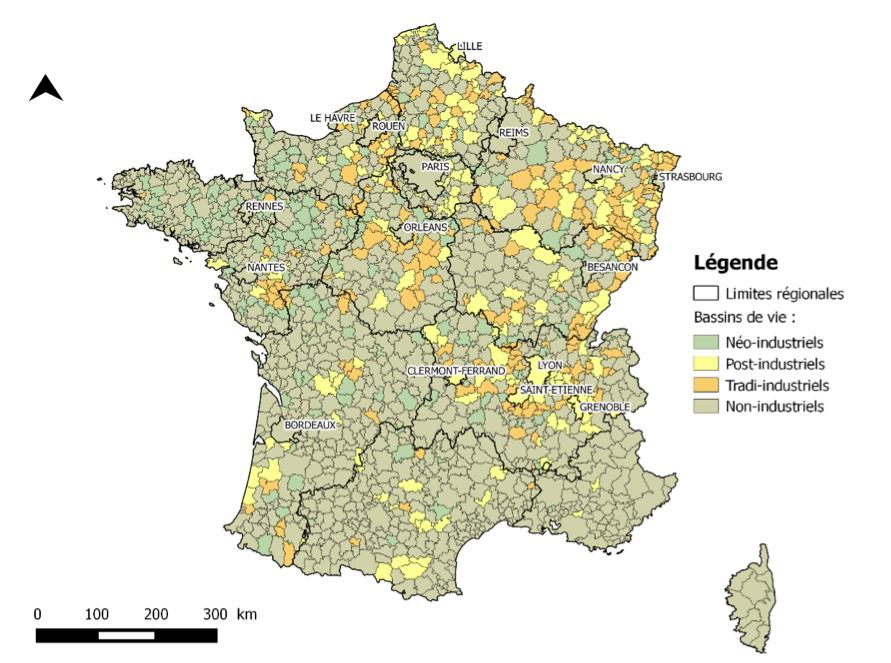 Évolution de la localisation des territoires les plus industriels (1975 et 2011). Source: élaboration des auteurs, d'après INSEE, RGP 1975, 2011 – IGN 2014.